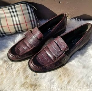 Franco Sarto Croc embossed leather red loafers